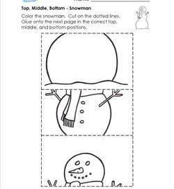 Top, Middle, Bottom - Snowman - Positional Words