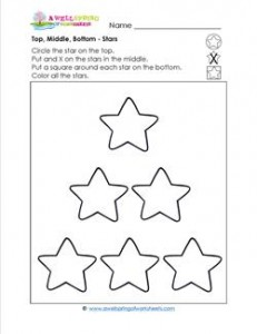 Top, Middle, Bottom - Stars - Positional Words