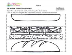 Top, Middle, Bottom - Sub Sandwich - Positional Words