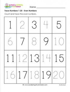 trace numbers 1-20 - even numbers missing