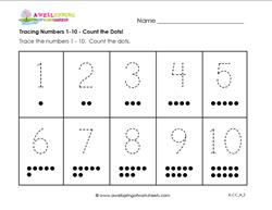 tracing numbers 1-10 count the dots