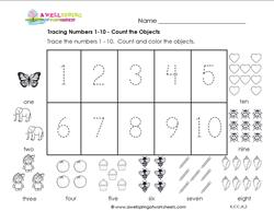 tracing numbers 1-10 count the objects