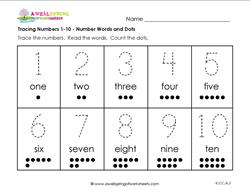 tracing numbers 1-10 number words and dots
