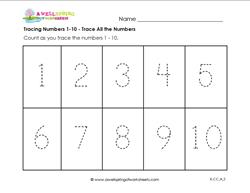 Tracing Numbers 1-10 - Trace All the Numbers - Kindergarten Numbers