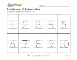 tracing numbers 1-10 tracing on the lines