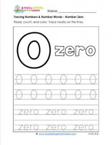 Tracing Numbers and Number Words - Number 0