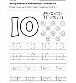 tracing numbers and number words - number 10
