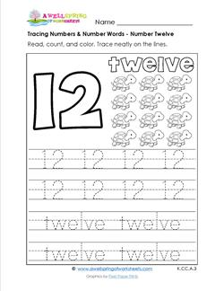tracing numbers and number words - number 12