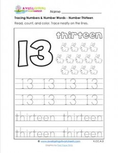 tracing numbers and number words number 13. Black Bedroom Furniture Sets. Home Design Ideas