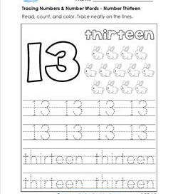 tracing numbers and number words - number 13
