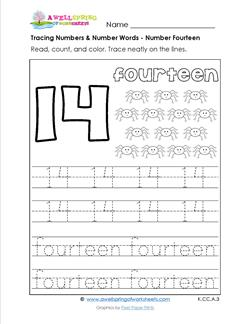 tracing numbers and number words - number 14