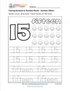 tracing numbers and number words - number 15