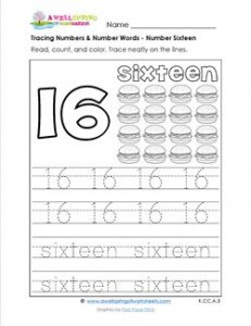 tracing numbers and number words - number 16