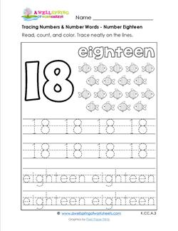 tracing numbers and number words - number 18