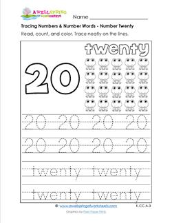 tracing numbers and number words - number 20
