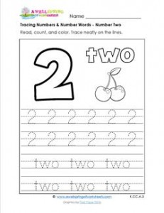 tracing numbers and number words - number 2