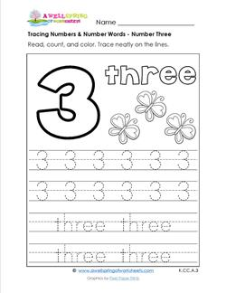 tracing numbers and number words - number 3