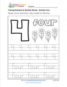 tracing numbers and number words - number 4