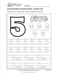 Tracing Numbers and Number Words - Number 5