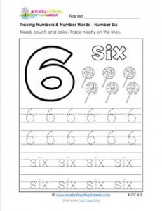tracing numbers and number words - number 6