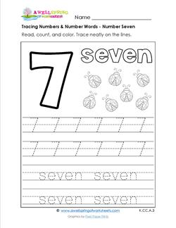 tracing numbers and number words - number 7