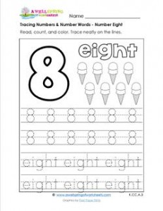 tracing numbers and number words - number 8
