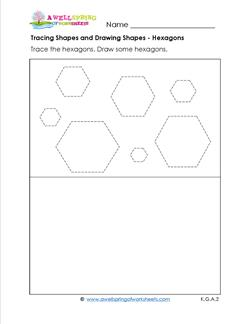 tracing shapes and drawing shapes - hexagons