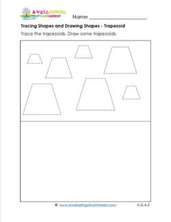 tracing shapes and drawing shapes - trapezoids