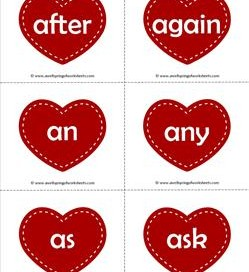 valentine hearts dolch sight word flashcards first grade