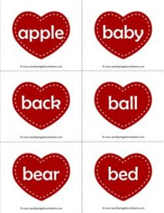 valentine hearts dolch sight word flashcards nouns