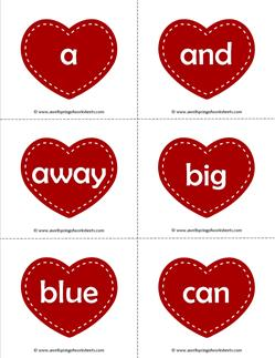 valentine hearts dolch sight word flashcards pre-primer