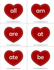 valentine hearts dolch sight word flashcards primer