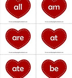 valentine hearts dolch sight word flashcards primer