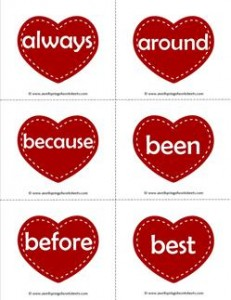 valentine hearts dolch sight word flashcards second grade