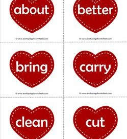 valentine hearts dolch sight word flashcards third grade