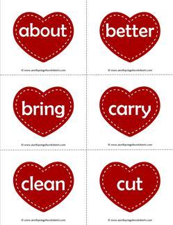valentine hearts dolch sight word flashcards third grade