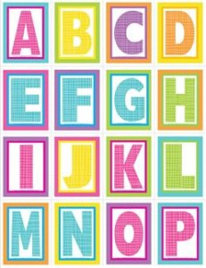 very small alphabet letters - plaid and polka dot - A-P