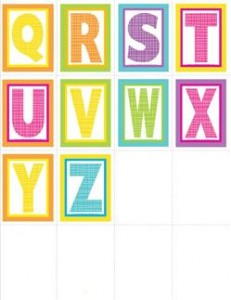 very small alphabet letters - plaid and polka dot - Q-Z