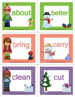 winter dolch sight word flashcards