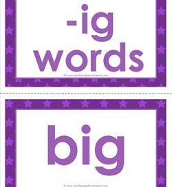 cvc word cards -ig words - ig word family - cvc words