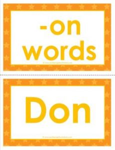 cvc word cards -on words - on word family - cvc words