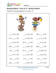 Missing Addend Worksheet - Sums of 19 - Monkey Mania! - First Grade Addition Worksheets