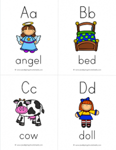 ABC Flash Cards with Pictures and Words - Lower Case and Upper Case Letters