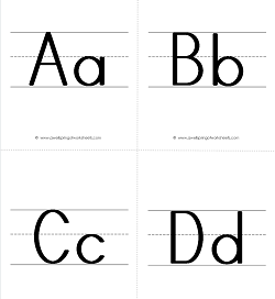 ABC Flashcards - Uppercase and Lowercase Letters on Primary Writing Lines