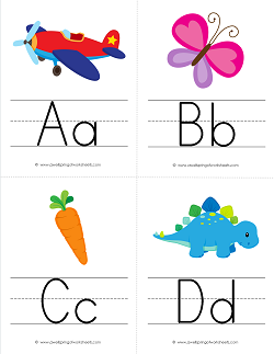 Alphabet Flash Cards with Pictures - Upper and Lower Case Letters on Primary Writing Lines