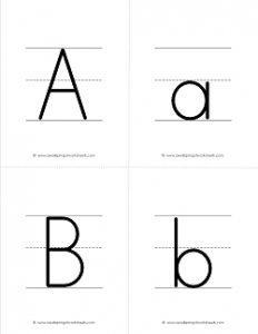 Letter Flash Cards - Upper Case and Lower Case Letters on Primary Writing Lines