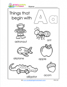 Things That Begin With A - Alphabet Printables