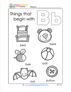 Things That Begin With B - Alphabet Printables