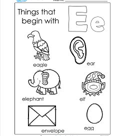 Things That Begin With E - Alphabet Printables