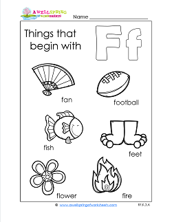 Things That Begin With F - Alphabet Printables